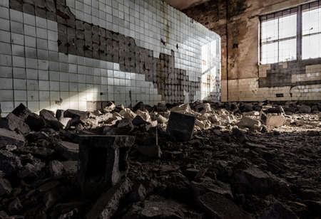 hall of an abandoned factory after the bombing in Ukraine without people Stok Fotoğraf