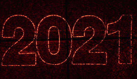 new year symbol 2021 red neon lights abstract background pattern