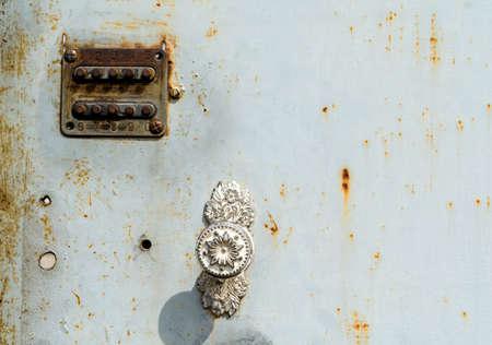 old digital combination lock on an iron door close up Stok Fotoğraf