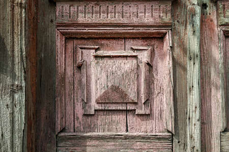 old wooden wall of vintage house with decor close up Stok Fotoğraf