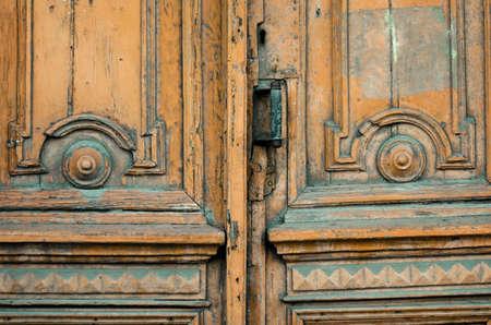 old vintage wooden door close up background
