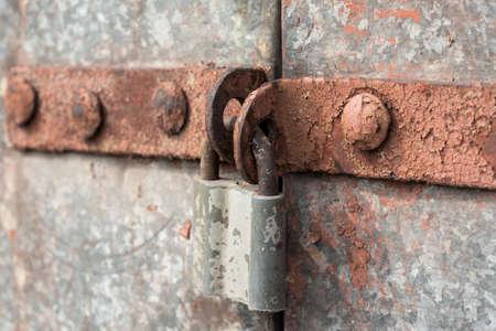 old lock on an iron door close up