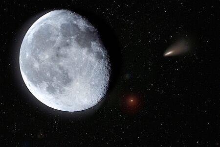the moon, stars and a meteorite photo