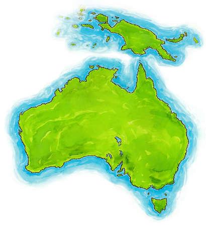 australasia: Watercolour australian map Stock Photo