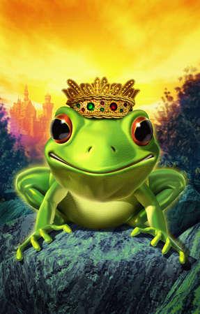 the frog prince: rana che indossa la corona