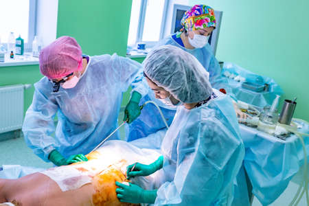 cosmetic liposuction surgery in actual operating room, group of surgeons working with cannula Stock Photo