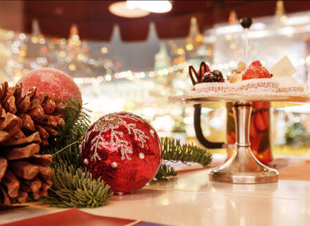 Christmas tea window on the background. New years celebration background. Stock Photo