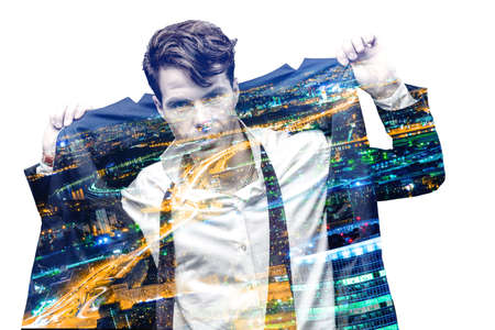 Double exposure effect of office man and panoramic modern city skyline. Business concept, information, communication, connection technology. Imagens