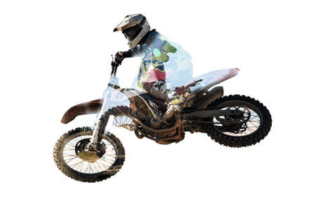 Racer on motorcycle participates in motocross cross-country in flight, jumps and takes off on springboard against sky. Concept active extreme rest.