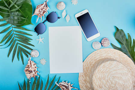 Summer female fashion outfit. Sunhat, sunglasses, seashells, gift boxes, smartphone with tropical palm branches on blue background. travel concept