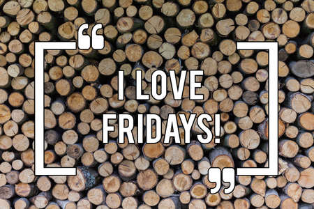 Conceptual hand writing showing I Love Fridays. Business photo text Affection for the start of the weekend enjoy days off Wooden background vintage wood wild message ideas thoughts Banco de Imagens