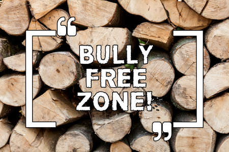 Handwriting text writing Bully Free Zone. Concept meaning Be respectful to other bullying is not allowed here Wooden background vintage wood wild message ideas intentions thoughts