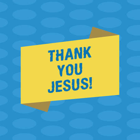 Word writing text Thank You Jesus. Business concept for Being grateful for what the Lord has given you Religious Blank Color Folded Banner Strip Flat Style photo for Announcement Poster