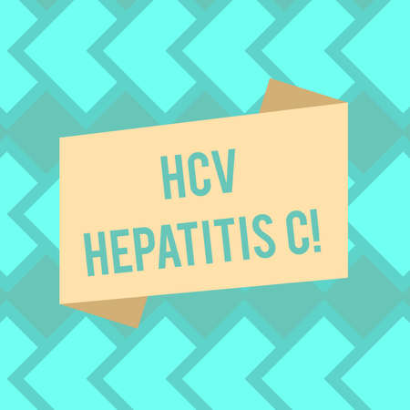 Text sign showing Hcv Hepatitis C. Conceptual photo Liver disease caused by a virus severe chronic illness Blank Color Folded Banner Strip Flat Style photo for Announcement Poster Stock Photo