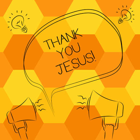 Handwriting text writing Thank You Jesus. Concept meaning Being grateful for what the Lord has given you Religious Freehand Outline Sketch of Blank Speech Bubble Megaphone Sound Idea Icon