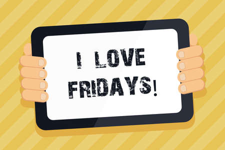 Text sign showing I Love Fridays. Conceptual photo Affection for the start of the weekend enjoy days off Imagens