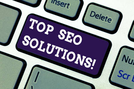 Text sign showing Top Seo Solutions. Conceptual photo methodology of techniques to increase amount of visitors Keyboard key Intention to create computer message pressing keypad idea Stock fotó