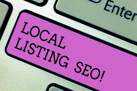 Writing note showing Local Listing Seo. Business photo showcasing promotional strategy used improve visibility your business Keyboard key Intention to create computer message pressing keypad idea