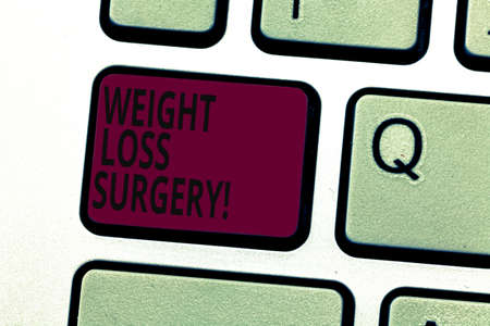 Handwriting text writing Weight Loss Surgery. Concept meaning do on stomach intestines to help demonstrating extreme obesity Keyboard key Intention to create computer message pressing keypad idea
