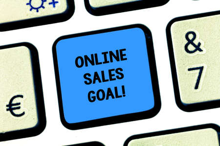 Handwriting text writing Online Sales Goal. Concept meaning working backward from your company annual revenue target Keyboard key Intention to create computer message pressing keypad idea Stock Photo