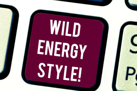Conceptual hand writing showing Wild Energy Style. Business photo text made near from technologies impose no threat to wildlife Keyboard key Intention to create computer message idea