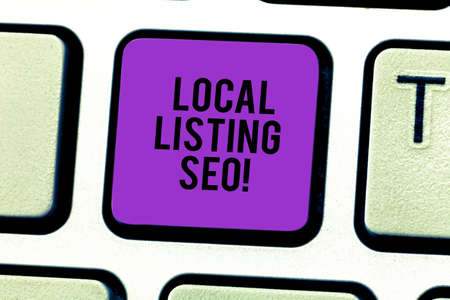 Conceptual hand writing showing Local Listing Seo. Business photo showcasing promotional strategy used improve visibility your business Keyboard key Intention to create computer message idea Stock Photo