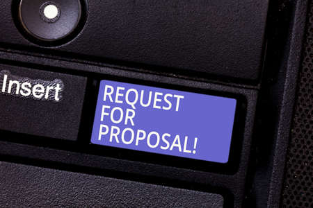 Writing note showing Request For Proposal. Business photo showcasing document that solicits proposal made through a bidding Keyboard key Intention to create computer message pressing keypad idea