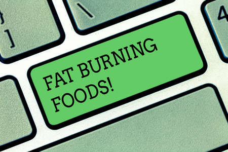 Word writing text Fat Burning Foods. Business concept for Certain types of food burn calories as you chew them Keyboard key Intention to create computer message pressing keypad idea