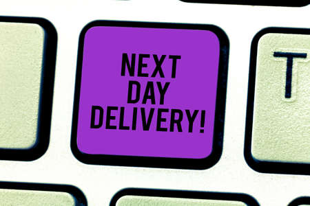 Conceptual hand writing showing Next Day Delivery. Business photo showcasing service allows you have goods delivered day after order Keyboard key Intention to create computer message idea