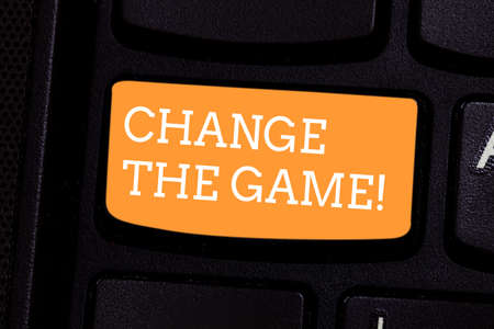 Text sign showing Change The Game. Conceptual photo Make a movement do something different new strategies Keyboard key Intention to create computer message pressing keypad idea Stock Photo