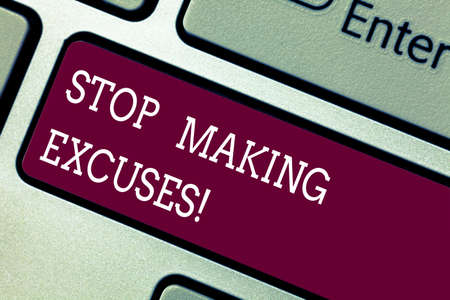 Word writing text Stop Making Excuses. Business concept for do not explanation for something that went wrong Keyboard key Intention to create computer message pressing keypad idea Stok Fotoğraf