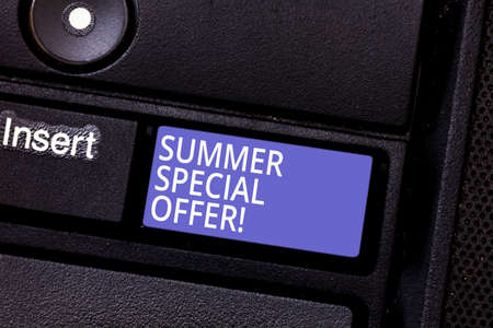 Writing note showing Summer Special Offer. Business photo showcasing product or service that is offered at a very low price Keyboard key Intention to create computer message pressing keypad idea