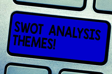 Handwriting text writing Swot Analysis Themes. Concept meaning Subject matter to undergo comprehensive analysis Keyboard key Intention to create computer message pressing keypad idea