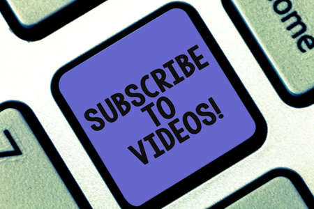 Conceptual hand writing showing Subscribe To Videos. Business photo showcasing like to see more content from those channels pages Keyboard key Intention to create computer message idea Imagens