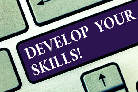 Text sign showing Develop Your Skills. Conceptual photo improve ability to do something well over time Keyboard key Intention to create computer message pressing keypad idea