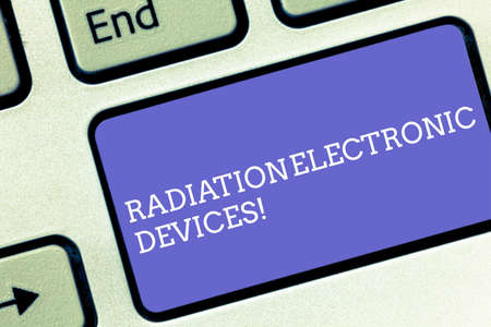 Conceptual hand writing showing Radiation Electronic Devices. Business photo text radio frequency emitted by electronic devices Keyboard key Intention to create computer message idea Stok Fotoğraf