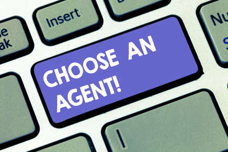 Writing note showing Choose An Agent. Business photo showcasing Choose someone who chooses decisions on behalf of you Keyboard key Intention to create computer message pressing keypad idea Фото со стока