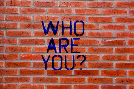 Text sign showing Who Are You. Conceptual photo Introduce Identify yourself demonstratingality likes dislikes Brick Wall art like Graffiti motivational call written on the wall