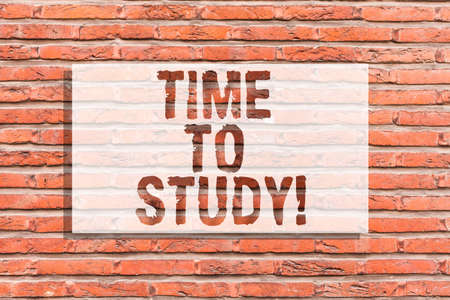 Text sign showing Time To Study. Conceptual photo Exams ahead need concentrate in studies learn the lesson Brick Wall art like Graffiti motivational call written on the wall