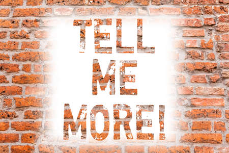Text sign showing Tell Me More. Conceptual photo A call to start a conversation Sharing more knowledge Brick Wall art like Graffiti motivational call written on the wall