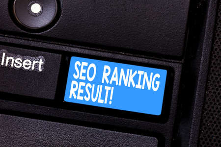 Conceptual hand writing showing Seo Ranking Result. Business photo showcasing refers to websites position in search engine results Keyboard key Intention to create computer message idea