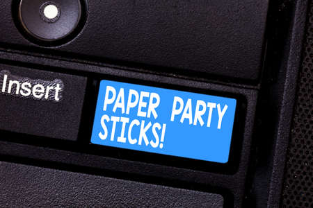 Conceptual hand writing showing Paper Party Sticks. Business photo showcasing colored shapes of hard paper used create emojis Keyboard key Intention to create computer message idea