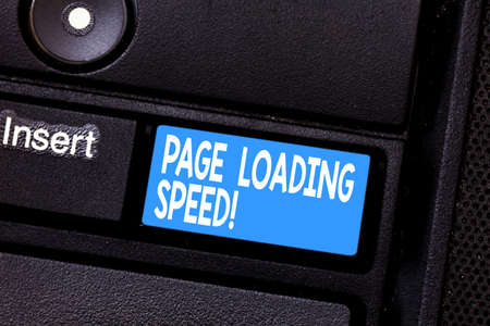 Conceptual hand writing showing Page Loading Speed. Business photo showcasing time it takes to download and display content of web Keyboard key Intention to create computer message idea Stockfoto