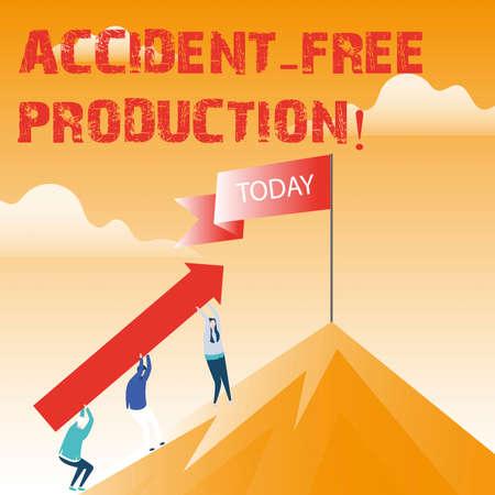 Segno di testo che mostra la produzione senza incidenti. Foto concettuale Produttività senza lavoratori infortunati senza incidenti