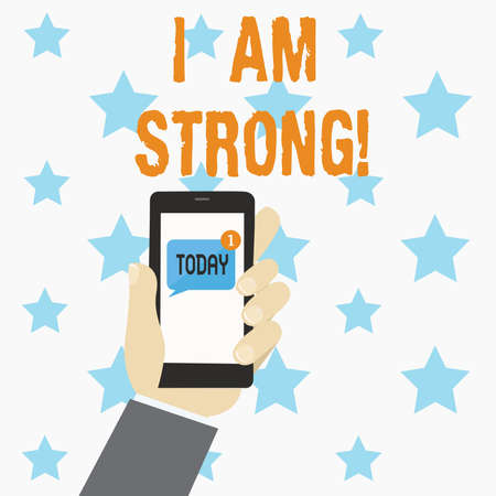 Conceptual hand writing showing I Am Strong. Business photo showcasing Have great strength being healthy powerful achieving everything