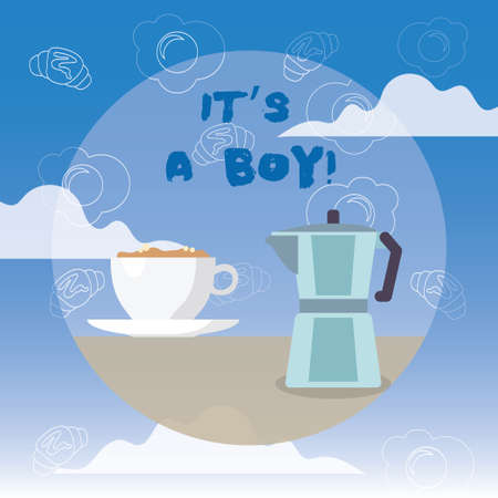 Word writing text It S A Boy. Business concept for Expecting a male baby cute blue colors a lot of car toys