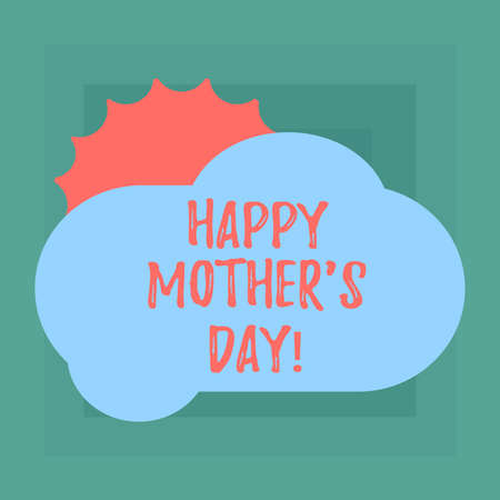 Conceptual hand writing showing Happy Mother S Is Day. Business photo showcasing celebration honoring mums and celebrating motherhood Sun Hiding Behind Blank Fluffy Color Cloud for Poster Ads Banco de Imagens