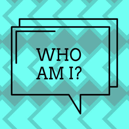Text sign showing Who Am I. Conceptual photo Introduce Identify yourself demonstratingality likes dislikes profile Rectangular Outline Transparent Comic Speech Bubble photo Blank Space