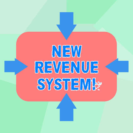 Conceptual hand writing showing New Revenue System. Business photo text income business got from its activities usually sales Arrows on Four Sides of Rectangular Shape Pointing Inward Stock Photo