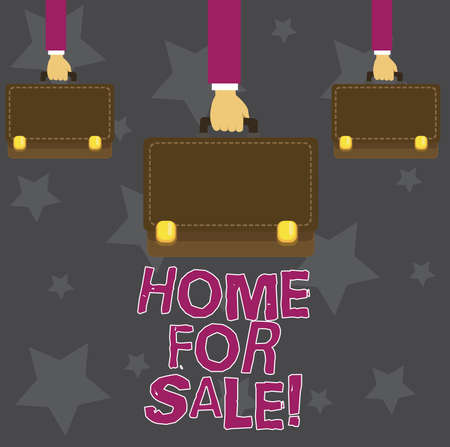 Handwriting text Home For Sale. Concept meaning House available to be purchased Real estate offering Stock Photo